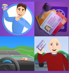 id driver license banner set cartoon style vector image