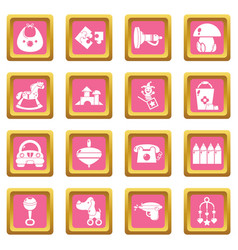 kindergarten icons set pink square vector image