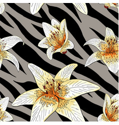 lily tiger type on gray tiger skin pattern vector image