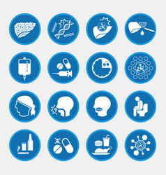 Liver cancer cause and treatment icons vector