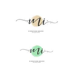 M i mi initial letter handwriting and signature vector