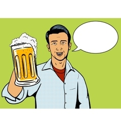 Man offers beer cup pop art style vector