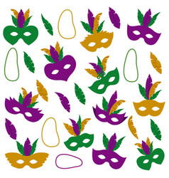 mardi gras pattern with mask feathers vector image