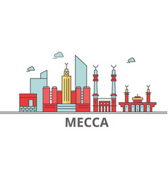 mecca city skyline buildings streets silhouette vector image
