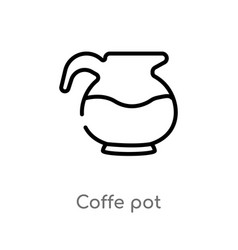 Outline coffe pot icon isolated black simple line vector