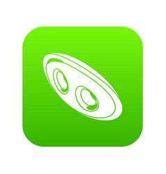 Oval clothes button icon green vector