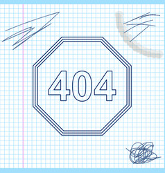 page with a 404 error line sketch icon isolated on vector image
