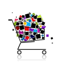 Pile of photos in shopping cart for your design vector image