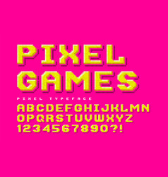 Pixel font design stylized like in 8-bit games vector