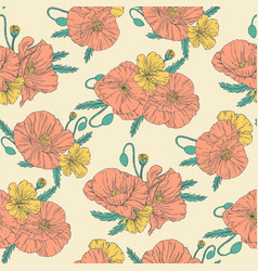 poppies seamless pattern vector image