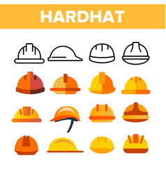 Protective hard hat color icons set vector