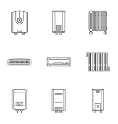 Reheat icons set outline style vector