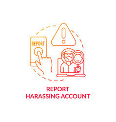 Reporting harassing account concept icon vector
