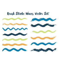 retro brush stroke waves set vector image