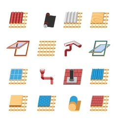 Roof Construction Elements Flat Icons Set vector image