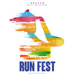 Run fest poster template for sport event marathon vector