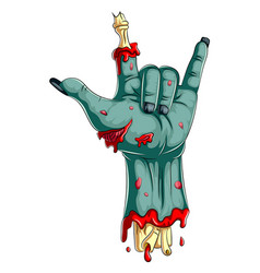 Scary zombie hand isolated on white background vector