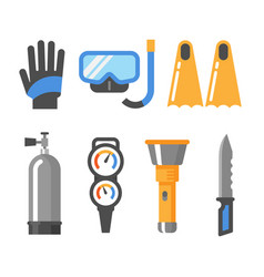 scuba diving gear flat icon set gloves mask vector image