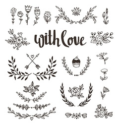 Set isolated hand drawn design elements with vector