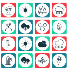 set of 16 world icons includes cold climate vector image