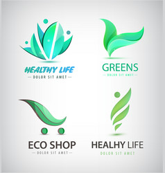 set of eco organic food healthy lifestyle vector image