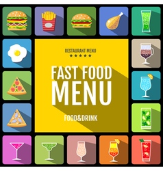 Set of flat style food and drinks icons design vector image vector image