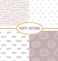 Set of seamless fluffy patterns vector