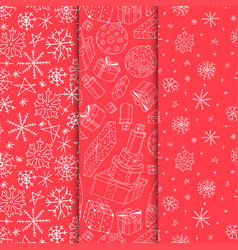 set of seamless xmas patterns - hand drawn vector image