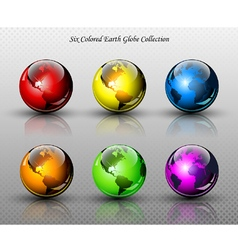 Set of six glossy colored Earth globes vector image