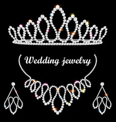 set of wedding diadem necklace and earrings with vector image