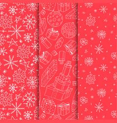 set seamless xmas patterns - hand drawn vector image