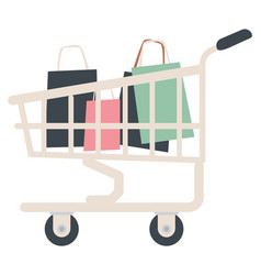 Shopping trolley filled with bags cart from shop vector
