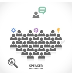 Speaker reads a lecture to an audience vector