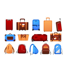 suitcases cartoon travel airport luggage vector image
