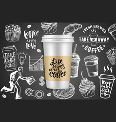 take away coffee ads creative vector image