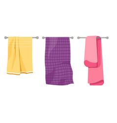 Towels on holder cotton waffer and terry textile vector