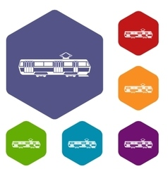 Tram icons set vector image