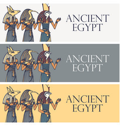 travel banners with deities ancient egypt vector image
