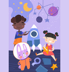 two young children playing with a spaceship stars vector image
