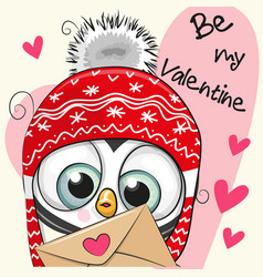 Valentine card with cute cartoon penguin vector