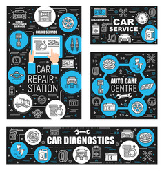 Vehicle diagnostic and car repair service outline vector