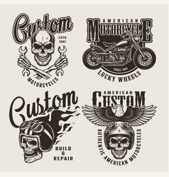 vintage custom motorcycle prints vector image
