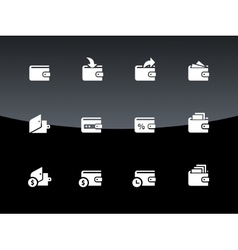 Wallet icons on black background vector image