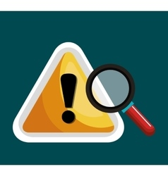 warning symbol and search graphic isolaed vector image