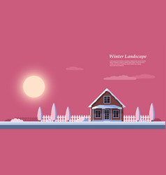 Winter sunrise landscape vector