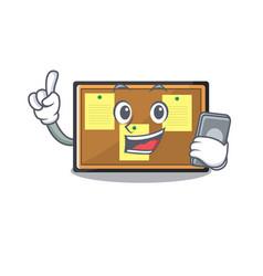 With phone bulletin board with cartoon shape vector