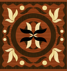 wooden art inlay tile geometric ornament from vector image