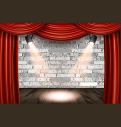 Wooden stage with red curtains vector