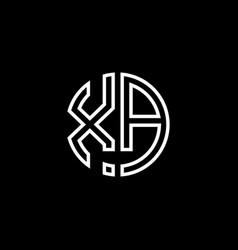 Xa monogram logo circle ribbon style outline vector