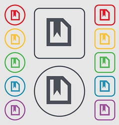 bookmark icon sign symbol on the Round and square vector image vector image